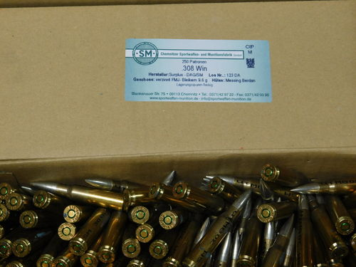 .308Win SM  9,6 Gramm FMJ Surplus DAG MEN verzinnt 1000 Schuß